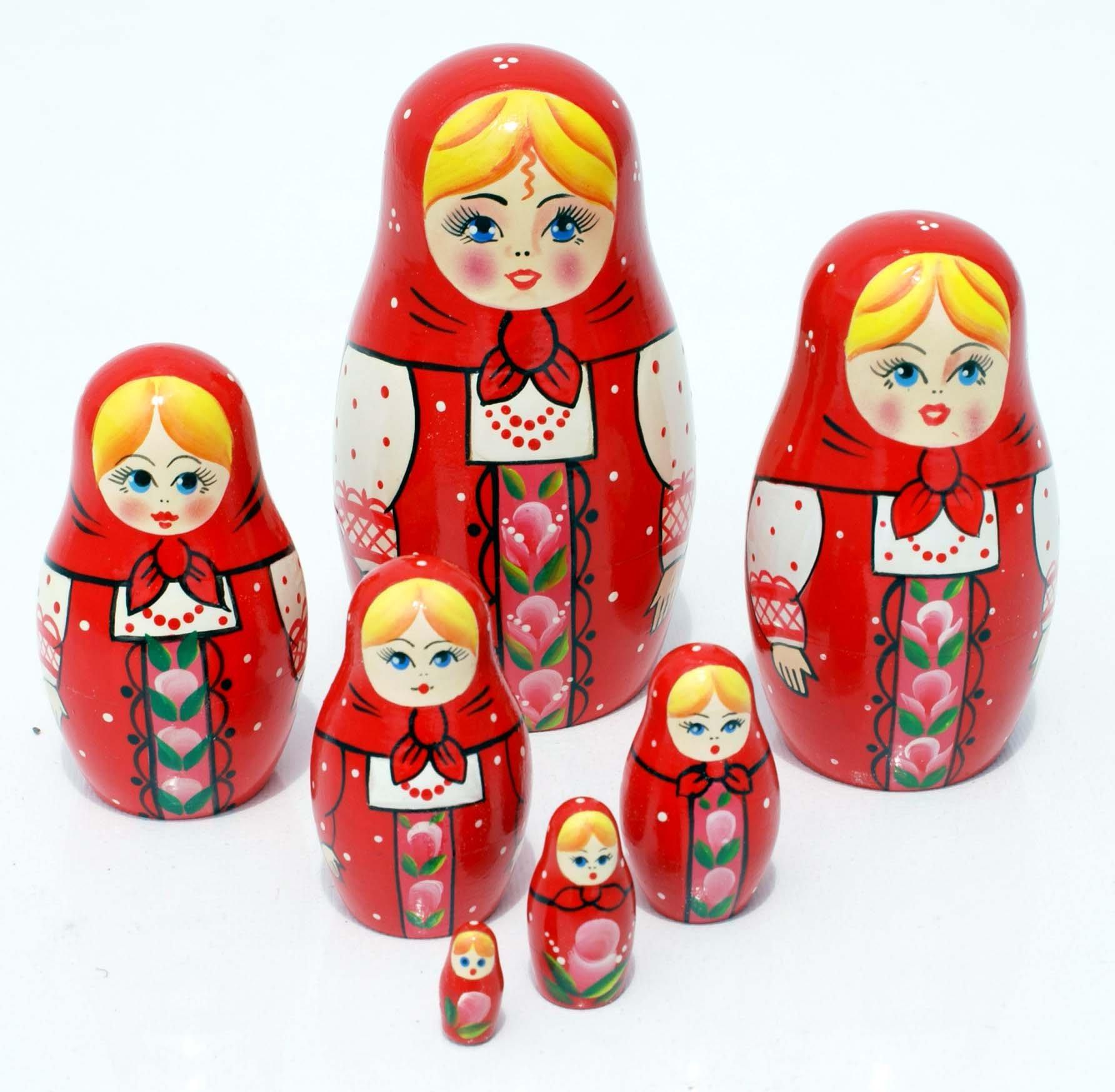 Dalla Russia Matrioska Nidificazione Bambole Originale 10 Rosso Uccelli /&
