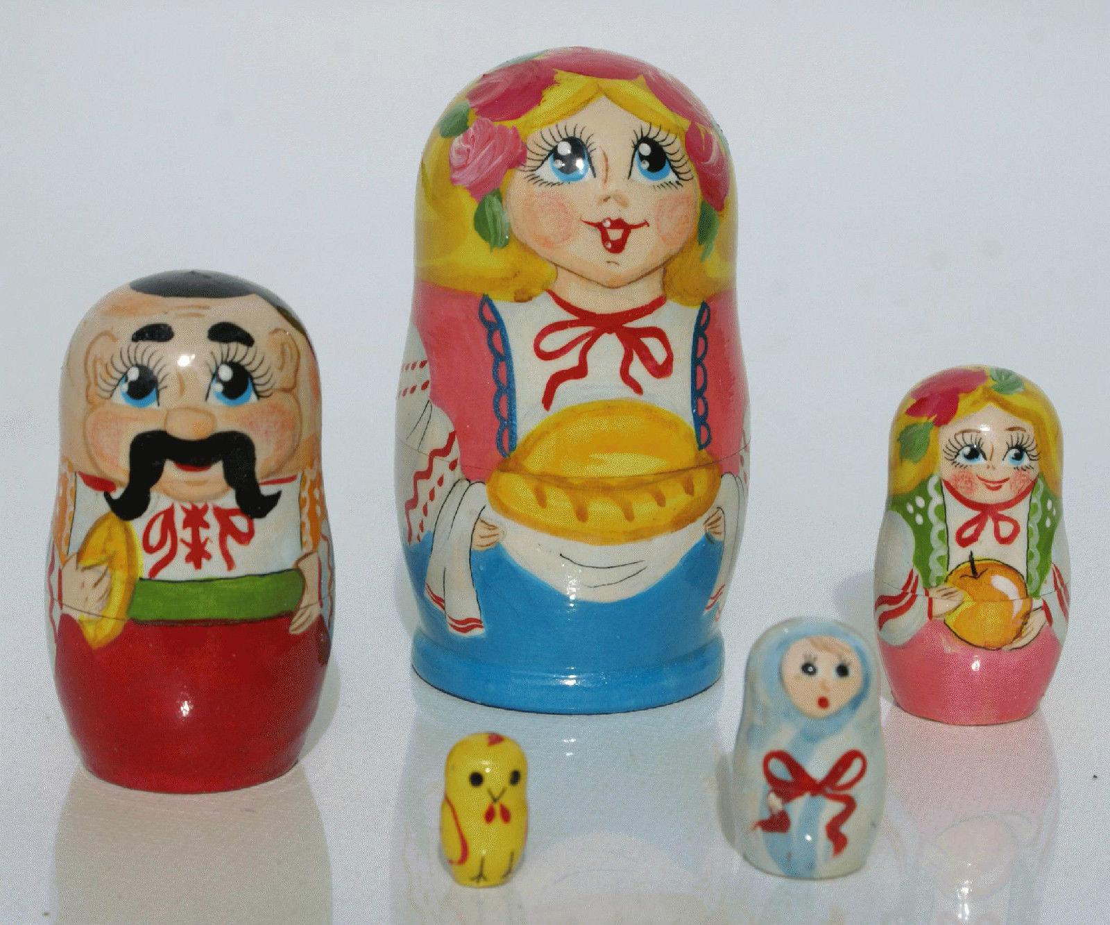 Bambola Russa Matryoshka famiglia Spilla Ciondolo dipinti a mano originale souvenir
